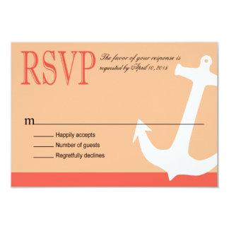 "Anchor on Stripes - RSVP | coral peach 3.5"" X 5"" Invitation Card"