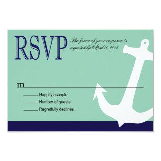"Anchor on Stripes - RSVP   navy aqua 3.5"" X 5"" Invitation Card"