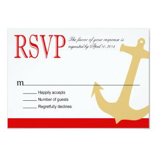 "Anchor on Stripes - RSVP   red white 3.5"" X 5"" Invitation Card"
