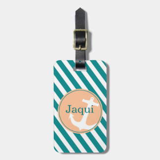 Anchor on Stripes | teal peach Luggage Tag