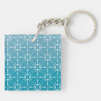 Anchor pattern Double-Sided square acrylic keychain