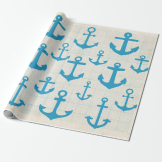 Anchor pattern gift wrap