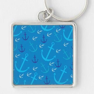 Anchor pattern Silver-Colored square keychain