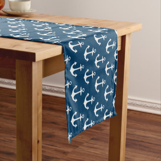 Anchor Pattern Table Runner | Navy Blue and White