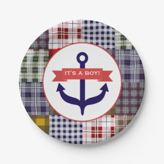 Anchor + Plaid Boy Baby Shower Paper Plate