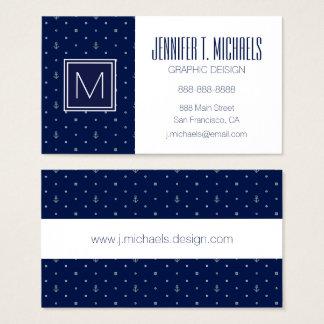 Anchor Polka Dots Pattern Business Card