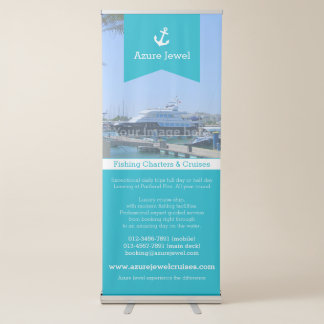 Anchor ribbon aqua white sailing nautical business retractable banner