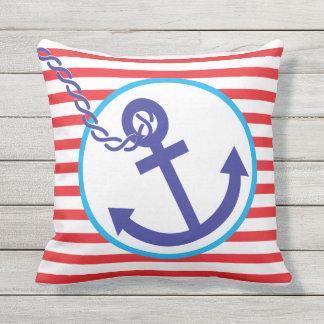 Anchor Rope Nautical Sailor Stripe Outdoor Pillow