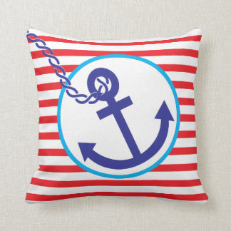 Anchor Rope Nautical Sailor Stripe Red Blue Pillow