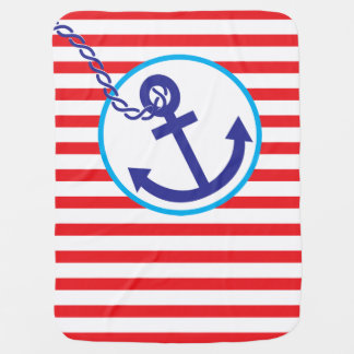 Anchor Rope Nautical Sailor Stripes Baby Blanket