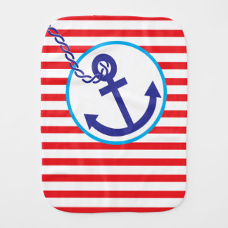 Anchor Rope of Hope Stripes Red Blue Burp Cloth