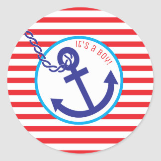 Anchor Rope Stripe Baby Shower Boy Sticker