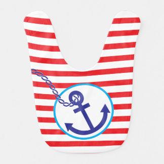 Anchor Rope Stripes Red Baby Shower Boy Bib