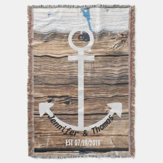 Anchor Rustic Vintage Dock Wood Custom Wedding Throw
