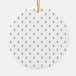 Anchor seamless texture round ceramic ornament