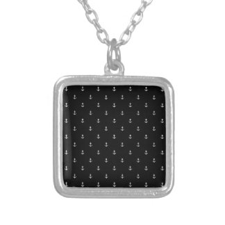 Anchor seamless texture silver plated necklace