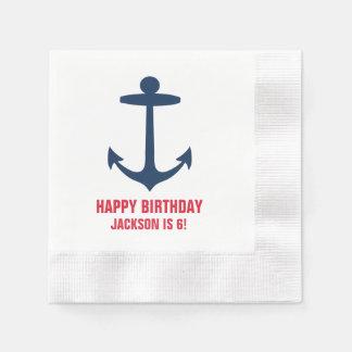 Anchor Silhouette Custom Happy Birthday Party Boy Paper Napkins