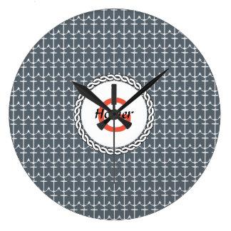 AnchorSilhouette ofanchor Large Clock
