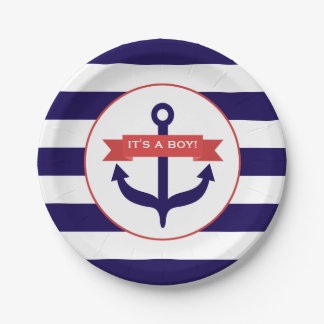 Anchor + Stripes Boy Baby Shower Paper Plate
