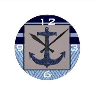 Anchor & Stripes Nautical Design Clock