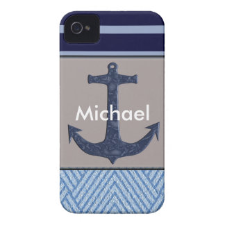 Anchor & Stripes Nautical Design iPhone 4 Case