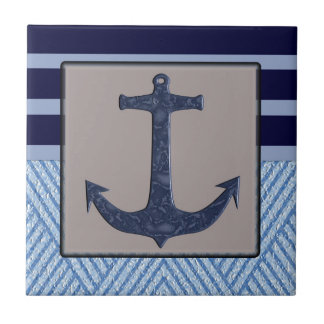 Anchor & Stripes Nautical Design Tile