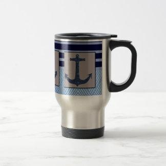Anchor & Stripes Nautical Design Travel Mug