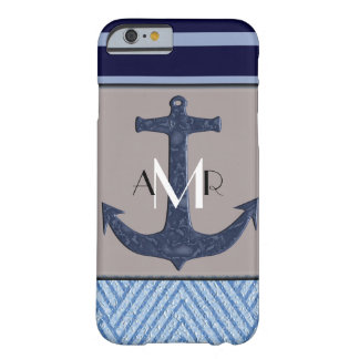 Anchor & Stripes Nautical Themed Monogrammed Barely There iPhone 6 Case