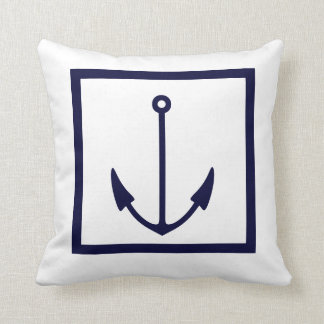 Anchor stripes WHITE on NAVY BLUE PILLOW