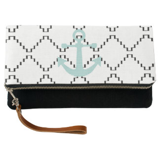 Anchor - strips - blue and white. clutch