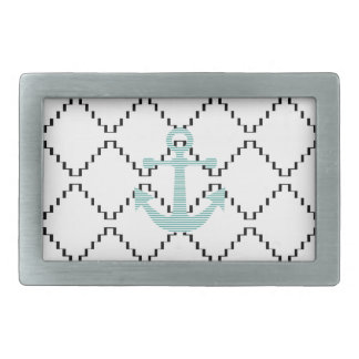 Anchor - strips - blue and white. rectangular belt buckle