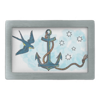 Anchor Swallow Southern Star Tattoo Belt Buckle