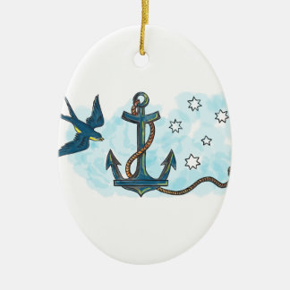 Anchor Swallow Southern Star Tattoo Ceramic Ornament