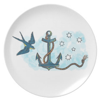 Anchor Swallow Southern Star Tattoo Dinner Plate