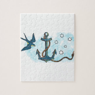 Anchor Swallow Southern Star Tattoo Jigsaw Puzzle