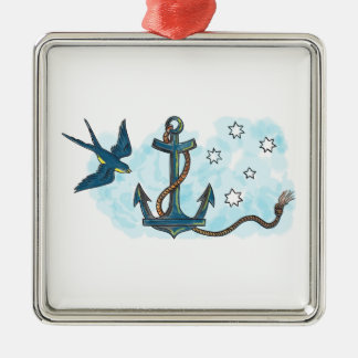 Anchor Swallow Southern Star Tattoo Metal Ornament