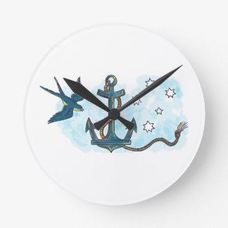 Anchor Swallow Southern Star Tattoo Round Clock
