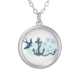 Anchor Swallow Southern Star Tattoo Silver Plated Necklace