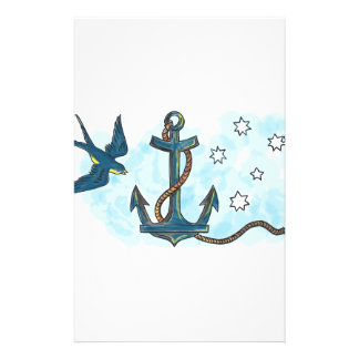 Anchor Swallow Southern Star Tattoo Stationery