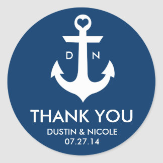 Anchor Thank You Labels Round Sticker