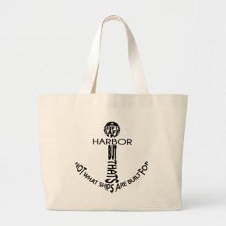 Anchor Typography Large Tote Bag