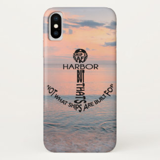 Anchor Typography on the beach iPhone X Case