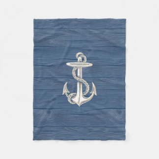 Anchor Vintage Blue Wood Beach Fleece Blanket