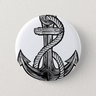Anchor Vintage Style Tattoo Illustration 2 Inch Round Button