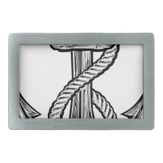 Anchor Vintage Style Tattoo Illustration Rectangular Belt Buckles