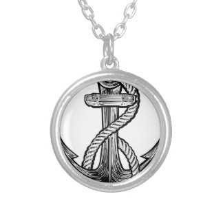Anchor Vintage Style Tattoo Illustration Silver Plated Necklace