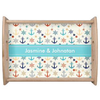 Anchor wheel sand dollar  patterns personalize serving tray