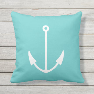 Anchor WHITE on teal blue pillow outdoor / indoor