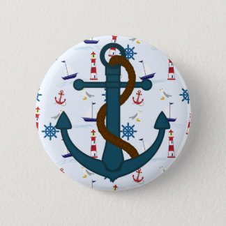 Anchor with blue lighthouse print Pinback Button