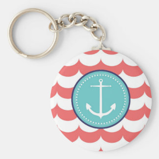 Anchor with Coral Waves Pattern Keychain